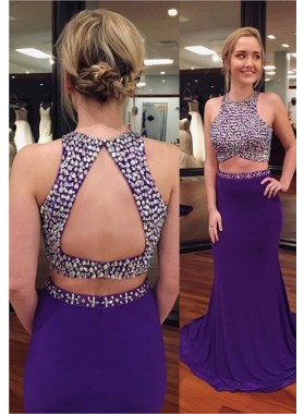 Jewel Sleeveless Sweep Train Two Pieces Purple Prom Dresses