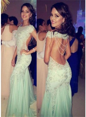 Mermaid/Trumpet Off-the-Shoulder Backless Sweep/Brush Train Prom Dresses