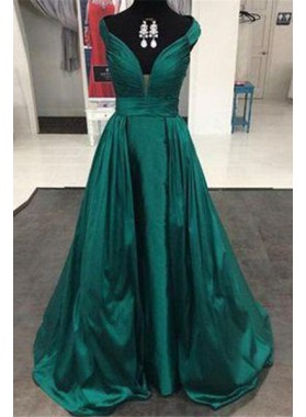 great quality new & pre-owned designer big clearance sale Dark Green A-Line/Princess V-Neck Sleeveless Natural Zipper Sweep Train  Satin Prom Dresses