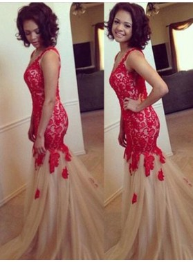 V-Neck Sleeveless Appliques Sweep Train 2019 Gorgeous Red Tulle Prom Dresses