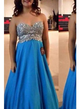 Royal Blue Sweetheart Beading Floor-Length/Long Chiffon Prom Dresses