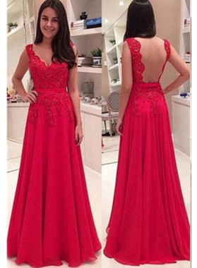 2019 Gorgeous Red Floor-Length/Long A-Line/Princess Straps Lace Backless Chiffon Prom Dresses