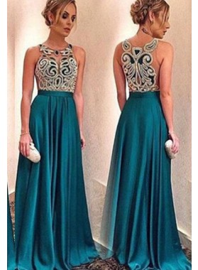 LadyPromDress 2019 Blue Floor-Length/Long A-Line/Princess Beading Floor-Length/Long Satin Prom Dresses