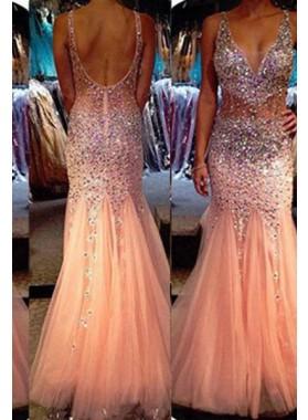 Floor-Length/Long Mermaid/Trumpet Straps Tulle 2019 Glamorous Pink Prom Dresses