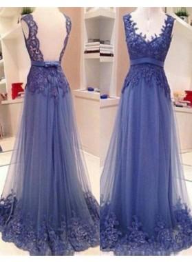 LadyPromDress 2019 Blue Floor-Length/Long A-Line/Princess V-Neck Lace Tulle Prom Dresses