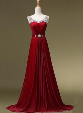 2019 Gorgeous Red Floor-Length/Long A-Line/Princess Zipper Beading Chiffon Prom Dresses