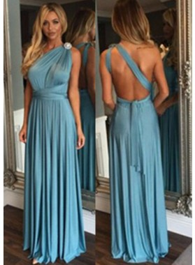 LadyPromDress 2019 Blue One Shoulder Natural Backless Floor-Length/Long A-Line/Princess Prom Dresses