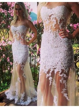 2019 Unique White Cheap Prom Dresses Floor-Length/Long Mermaid/Trumpet Appliques Tulle