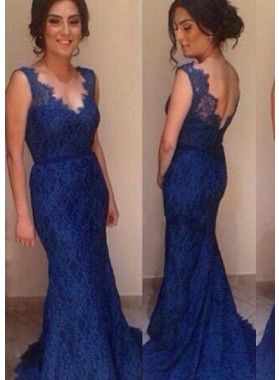 LadyPromDress 2019 Blue Mermaid/Trumpet V-Neck Natural Sweep Train Lace Prom Dresses