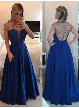 LadyPromDress 2021 Blue Floor-Length/Long A-Line/Princess Beading Floor-Length/Long Chiffon Prom Dresses