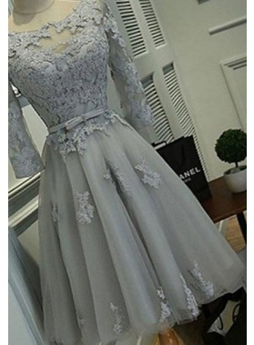 Knee-length Appliques Lace Up A-Line/Princess Tulle Prom Dresses