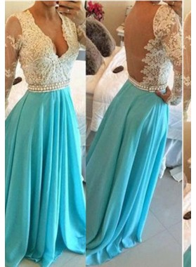 LadyPromDress 2019 Blue Floor-Length/Long A-Line/Princess Beading Floor-Length/Long Chiffon Prom Dresses