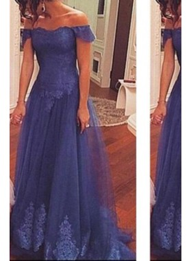 LadyPromDress 2019 Blue Off-the-Shoulder Natural Short Sleeves Lace Floor-Length/Long Tulle Prom Dresses