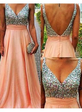Floor-Length/Long A-Line/Princess V-Neck Backless Chiffon Prom Dresses