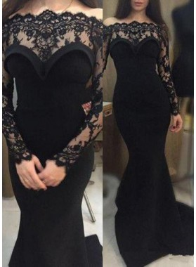 2019 Junoesque Black Mermaid/Trumpet Lace Long Sleeve Natural Satin Prom Dresses