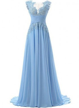 LadyPromDress 2019 Blue Embroidery Zipper Natural A-Line/Princess Chiffon Prom Dresses