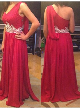 2019 Gorgeous Red One Shoulder Floor-Length/Long Appliques A-Line/Princess Chiffon Prom Dresses
