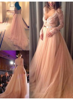 Long Sleeve V-Neck Sweep/Brush Train A-Line/Princess Tulle 2019 Glamorous Pink Prom Dresses