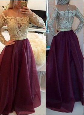 Burgundy Floor-Length/Long A-Line/Princess Off-the-Shoulder Long Sleeve Prom Dresses