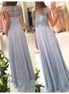 Short Sleeves A-Line/Princess Zipper Chiffon Prom Dresses