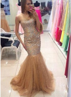 Mermaid/Trumpet Sweetheart Sleeveless Natural Sweep Train Prom Dresses