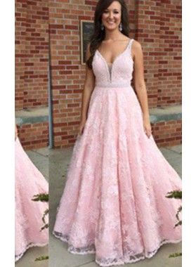 V-Neck Floor-Length/Long Lace Natural Waist Sleeveless A-Line/Princess 2021 Glamorous Pink Prom Dresses