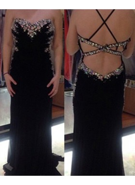2018 Junoesque Black Backless Beading Sweetheart Column/Sheath Prom Dresses