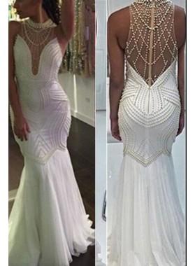 Floor-Length/Long Mermaid/Trumpet Beading Floor-Length/Long Prom Dresses