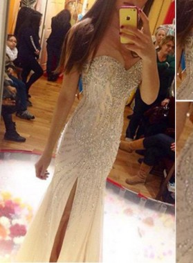 Floor-Length/Long Sweetheart Column/Sheath Split Front Sequined Prom Dresses