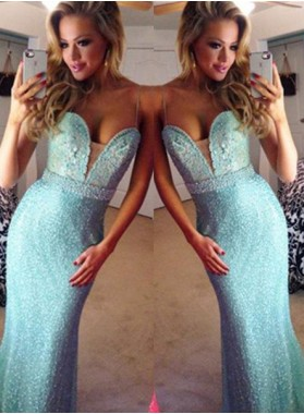 LadyPromDress 2019 Blue Mermaid/Trumpet Spaghetti Straps Floor-Length/Long Appliques Sequins Prom Dresses