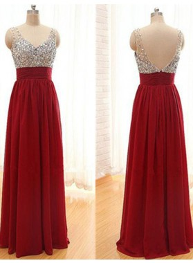 2019 Gorgeous Red A-Line/Princess V-Neck Sleeveless Beading Chiffon Prom Dresses