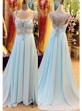 A-Line/Princess V-Neck Sleeveless Sweep/Brush Train Chiffon LadyPromDress 2019 Blue Prom Dresses