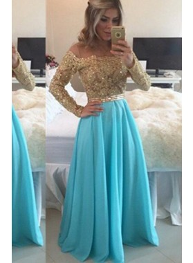LadyPromDress 2019 Blue Floor-Length/Long A-Line/Princess Off-the-Shoulder Chiffon Prom Dresses