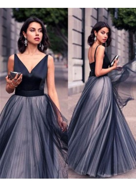 Floor-Length/Long A-Line/Princess Pleats Floor-Length/Long Tulle Prom Dresses
