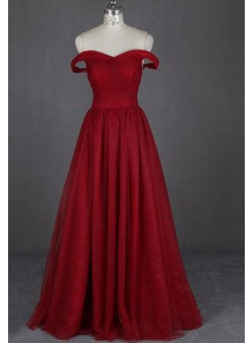 2019 Gorgeous Red Floor-Length/Long Off-the-Shoulder A-Line/Princess Chiffon Prom Dresses