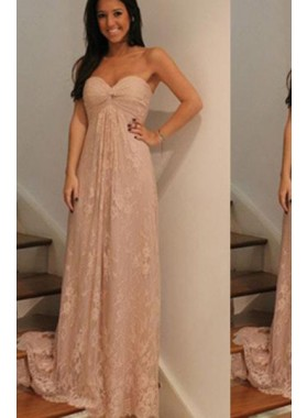A-Line/Princess Sweetheart Sleeveless Sweep Train Lace Pearl Pink Prom Dresses