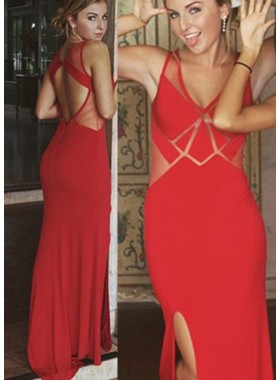 2019 Gorgeous Red Illusion Side-Slit Column/Sheath Prom Dresses