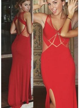 2019 Gorgeous Red Illusion Side-Slit Column/Sheath Prom Dresses