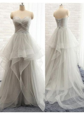Floor-Length/Long A-Line/Princess Sweetheart Sweep Train Layers Tulle Prom Dresses