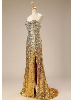 Floor-Length/Long Column/Sheath Sequins Split Front Sweetheart Prom Dresses
