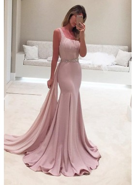 Elegant Crystal One-Shoulder Mermaid/Trumpet Stretch Satin Prom Dresses