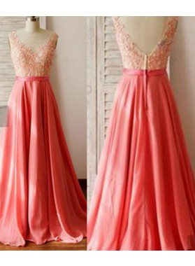 Cheap Prom Dresses Floor-Length/Long V-Neck A-Line/Princess Appliques Chiffon