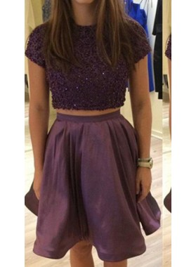 Grape Short Two Pieces A-Line/Princess Short/Mini Sequins Satin Prom Dresses