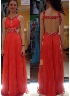 Prom Dresses Round Neck Beading Pleats A-Line/Princess Chiffon