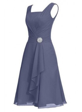 Floor-Length/Long A-Line/Princess Square Ruffles Knee-length Chiffon Prom Dresses