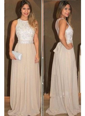 A-Line/Princess Sleeveless Natural Zipper Floor-Length/Long Chiffon Champagne Prom Dresses