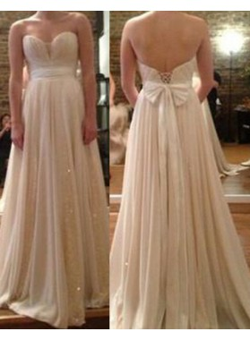 A-Line/Princess Sweetheart Sleeveless Natural Lace-up Champagne Prom Dresses