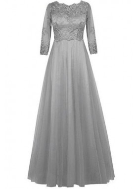 Floor-Length/Long A-Line/Princess 3/4 Length Sleeves Appliques Prom Dresses