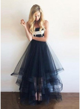 LadyPromDress 2019 Blue Floor-Length/Long Strapless A-Line/Princess Layers Organza Prom Dresses