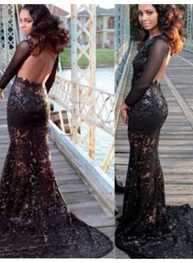 2019 Junoesque Black Floor-Length/Long Mermaid/Trumpet Backless Lace Prom Dresses